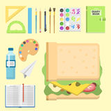 School supplies children stationary educational accessory student notebook vector illustration. Royalty Free Stock Images