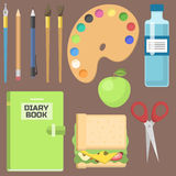 School supplies children stationary educational accessory student notebook vector illustration. Stock Image