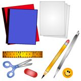 School Supplies Clip Art 2. A clip art illustration of a collection of back to school supplies including binders, paper, ruler, scissors, pencil,pen,eraser and a Stock Photo
