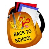 School Supplies Clip Art. A clip art illustration of a backpack filled with back to school supplies including binders, paper, ruler, scissors, pencil,pen,eraser Stock Photos