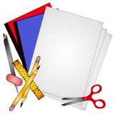 School Supplies Clip Art 3. A clip art illustration of back to school supplies including binders, paper, ruler, scissors, pencil,pen,eraser  - all isolated on a Royalty Free Stock Photo