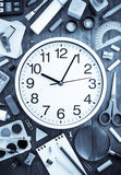 School supplies and clock on wood Royalty Free Stock Photography