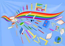 School supplies - collage. Colorful collage of school equipment Stock Photos