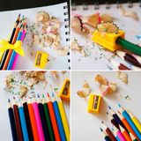 School supplies collage - Colored pencils, sharpener, shavings stock images