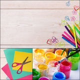 School supplies collage Stock Image
