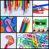 School supplies collage. A collage of different pictures of some school supplies such as colored pencils, pencil sharpener or paper clips Royalty Free Stock Photos