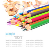 School supplies color pencils shavings isolated on white Royalty Free Stock Photos