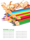 School supplies color pencils shavings isolated on white Stock Photography