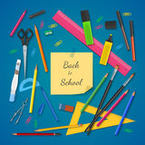 School supplies on colored background Stock Photography