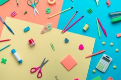 School supplies on a colored background Royalty Free Stock Image