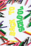 Back to school ,School supplies colored pencils in Fall scattered, isolated Stock Images