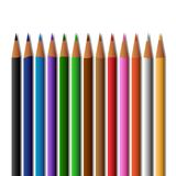 School supplies colored pencils, isolated on a white background Stock Photo