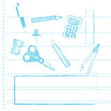 School supplies with copy space Royalty Free Stock Photography