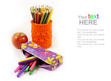 School supplies with copy space Royalty Free Stock Images