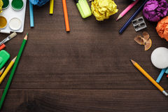 School supplies with copy space on table Royalty Free Stock Photo