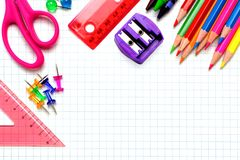 School supplies corner border Stock Photography