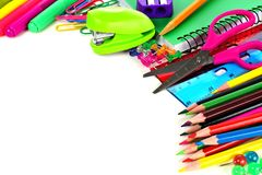 School supplies corner border Royalty Free Stock Images