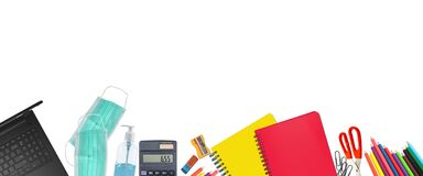 School supplies and covid 19 prevention items. Bottom border on a white background. Back to school during pandemic concept with
