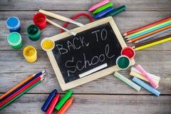 School supplies, crayons, pens, chalk Stock Image