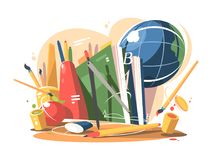 School supplies in a creative style. Globe, notebooks and books. Vector illustration Royalty Free Stock Photos
