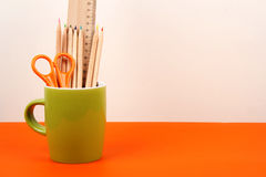 School Supplies In The Cup Stock Images
