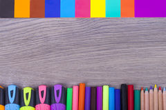 School supplies. On a dark background and place for text, selective focus and small depth of field Stock Image