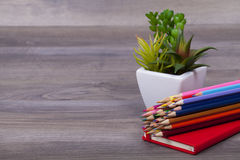 School supplies. On a dark background and place for text, selective focus and small depth of field Stock Photos