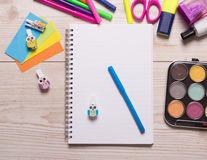 School supplies on desk Royalty Free Stock Image