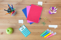 School supplies on the desk Stock Photos