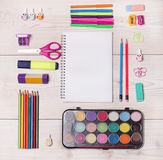 School supplies on desk Royalty Free Stock Images