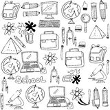 School supplies doodles collection stock. Vector illustration Royalty Free Stock Images