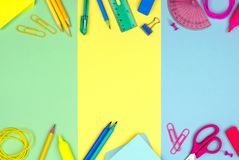 School supplies double border against a multicolor pastel background Royalty Free Stock Image