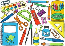 School supplies drawings. Illustration of school or office supplies - drawings on white background Royalty Free Stock Images