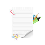School supplies and empty paper on white background Royalty Free Stock Images