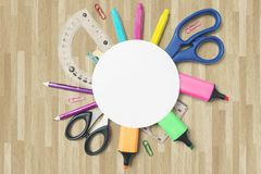 School supplies with empty rounded paper Stock Photo