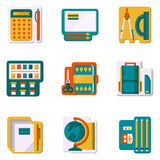 School supplies flat color icons Stock Photography