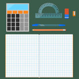 School supplies, flat set Stock Photography