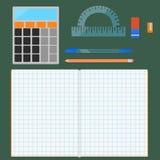 School supplies, flat set Stock Photography