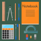 School supplies, flat set Royalty Free Stock Photo