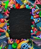 School Supplies Frame Black Board. School supplies frame border black board background and learning tools as a computer tablet pencils books and learning icons Stock Photos