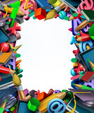 School Supplies Frame Border Stock Photos