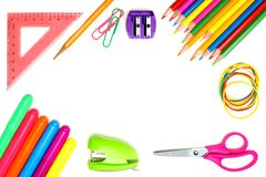 School supplies frame Royalty Free Stock Image