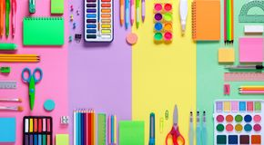 School Supplies In Frame Stock Photo