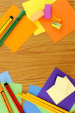 School supplies frame set in flat lay background Stock Photos