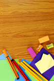 School supplies frame set in flat lay background Royalty Free Stock Photo