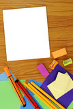 School supplies frame set in flat lay background Royalty Free Stock Image