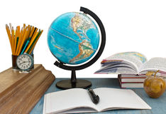 School supplies and globe Royalty Free Stock Photography