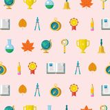 Colorful seamless patterns on the theme of education, school, au. School supplies. Globe, open book, pencil, gold Cup, compass, compass. Design elements on a royalty free illustration
