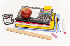 School supplies on gray background Stock Photos