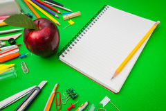 School supplies on Green chalkboard  Back to school background Royalty Free Stock Image